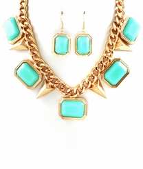 Turquoise Charm and Gold Plated Spike Necklace set : Fashion Necklace and Earring Set
