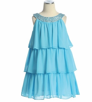 Turquoise Tiered Sequin Dress  Toddler or Girls Size