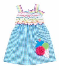 Turquoise/ White Seersucker Dress With Ice Cream Applique