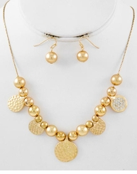 Two Tone Gold Bead Clear Rhinestone Necklace Set