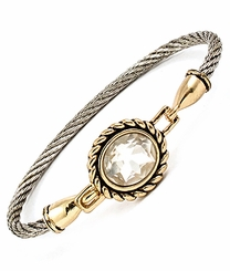 Two Tone Round Clear Crystal Latch Bracelet $12.99