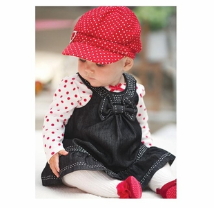 Valentine's Day Dress Set with Heart Hat
