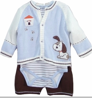 Vitamins Baby - Puppy Sweater Boys Gift Set - 3 Month last one FINAL SALE