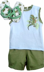 Vitamins Boys Shorts , Lizard Tee and Flip Flops - 18 months LAST ONE