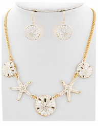 White and Gold Plated Starfish Necklace and Earring Set