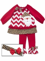 Baby Girls - Holiday Set Cheetah Print Santa Legging Set with Headband