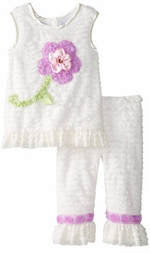 Rare Editions Toddler Eyelash Flower Soutache Legging Set