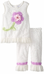 Rare Editions Toddler Eyelash Flower Soutache Legging Set 2T FINAL SALE