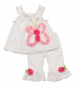 White Eyelash Set with Pink Butterfly Rosette Applique 6 months