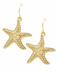 White Gold Plated Starfish Dangle Earrings