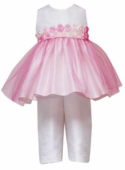 White / PInk Organza Capri Set - 12 - 24 month
