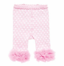 White Pink Polka Dot Cotton Leggings Chiffon Ankles - sold out