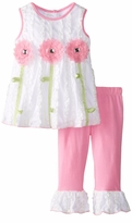 White Pink Ruching Knit Flower Legging Set