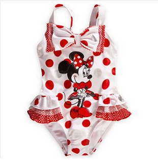 White Red Polka Dot Minnie One Piece Swimsuit - Girls Bathing Suits