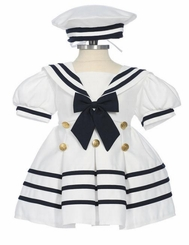 White Sailor Dress with Hat