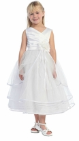 White Satin Bodice  Flower Girl Dress  2 - 12  FINAL SALE