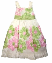 White Taffeta Dress With Pink and Lime Flowers  4T FINAL SALE