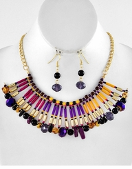 Women's Bib Necklace and Earring Set - Crystal and Jet Jewel Tones