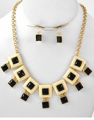 Women's Black and Gold Modern Squares Necklace and Earring Set