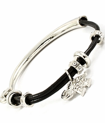 Women's Black and Silver Crystal Stud Elephant Bracelet