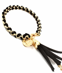 Women's Black Leatherette and Gold Wrap Tassel Chain Bracelet