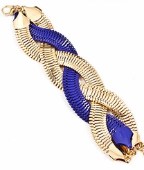 Women's  Blue and Gold Tone Braided Mesh Link Bracet
