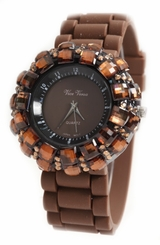 Women's Brown Sparkle Crystals Rubber Strap Watch