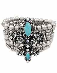 Women's Burnished Silver Tone Turquoise Fleur De Lis Bracelet out of stock