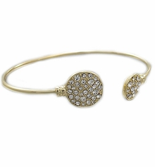 Women's Clear Crystal Paved Round Disk End Cuff Gold Bracelet