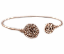 Women's Clear Crystal Paved Round Disk End Cuff Rose Gold Bracelet