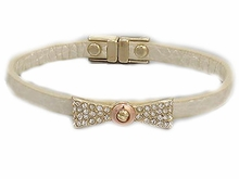 Women's Cream Faux Leather w/Paved Crystal Bow Bracelet