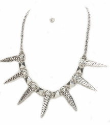 Women's Crystal Encrusted Silver Tone Spike Necklace and Post Earring Set