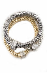 Women's Crystal Ring Stretch Bracelets - set of 3