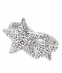 Women's Double Finger Ring Matte Silver Crystal Stars Stretch Ring - out of stock
