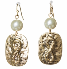 Women's Fashion Earrings : Antique Gold Infinity Earrings with Pearl Charm