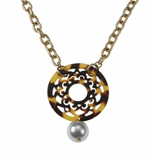 Women's Fashion Jewelry : Tortoise Filigree Pendant Necklace with Pearl Charm