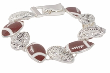 Women's Football Charm Link Bracelet - Magnetic Closure