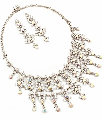 Women's Formal Aurora Beaurealis Crystal Necklace and Earring Set