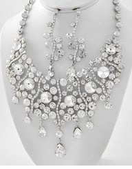 Women's Formal or Bridal Chandelier Necklace and Earring Set