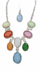 Women's Free Spirit Silver Tone Multi Color Acrylic Necklace and Earring Set