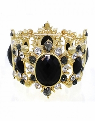 Women's Gold and Black Luxe Victorian Inspired Crystal & Stone Stretch Bracelet