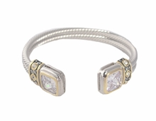 Women's Gold and Silvertone Twist Square Tip Cuff Bracelet