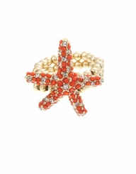 Women's Gold Bead Pave Coral Starfish Ring