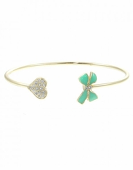 Women's Gold Cuff Bracelet  Bow and Heart Mint Gold