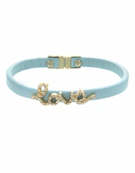 Women's Gold Mint Leather Love Script Bracelet