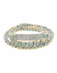 Women's Gold Mint Pave Bar Bracelet