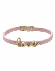 Women's Gold Pink Leather Love Script Bracelet