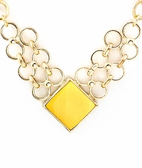 Women's Gold Square Pendant Link Necklace - Yellow Abalone