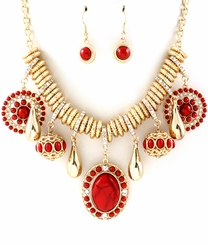 Women's Gold Tone and Red Charm Necklace and Earring Set