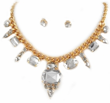 Women's Gold Tone Clear Charm Necklace and Earring Set